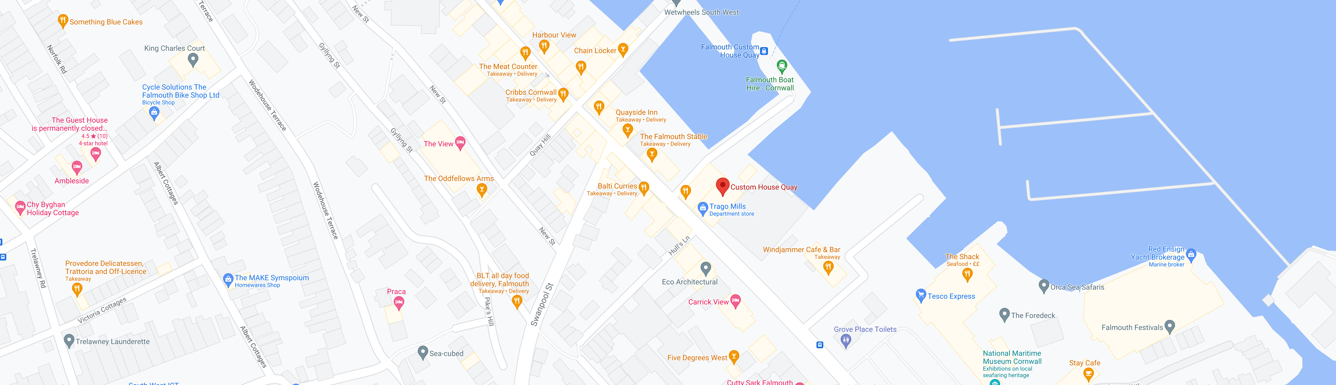 Map of Custom House Quay where our boats launch from