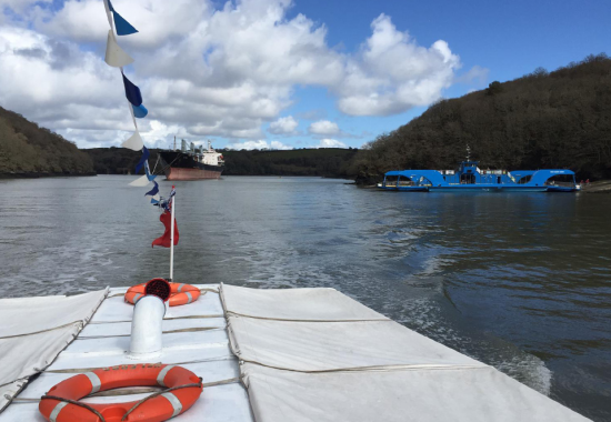 Looking back on the King Harry Ferry on the River Fal