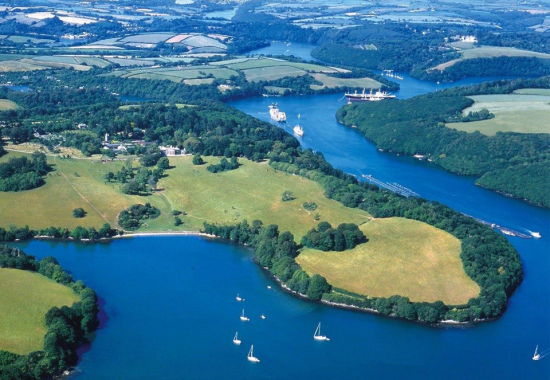 An aerial view of the River Fal